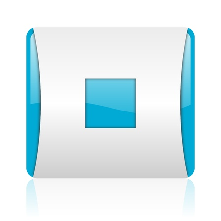 stop blue and white square web glossy icon  photo