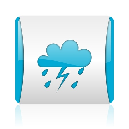 weather forecast blue and white square web glossy icon  photo