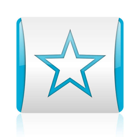 star blue and white square web glossy icon  photo
