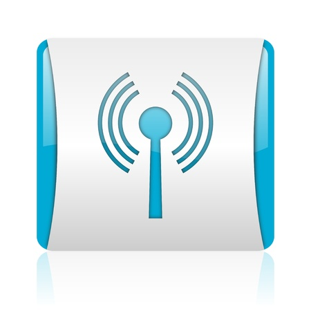 wifi blue and white square web glossy icon  photo