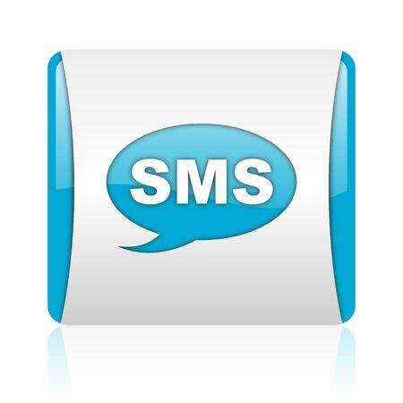 sms blue and white square web glossy icon  photo