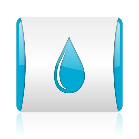 water drop blue and white square web glossy icon