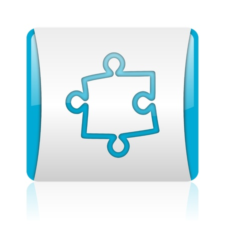 puzzle blue and white square web glossy icon  photo