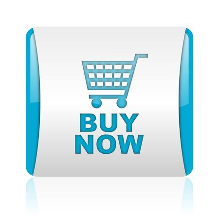 buy now: buy now blue and white square web glossy icon