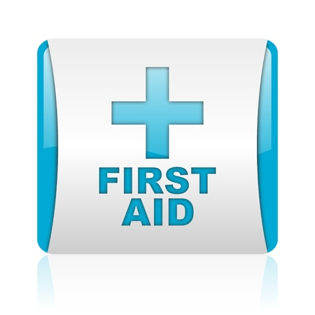 first aid blue and white square web glossy icon  photo