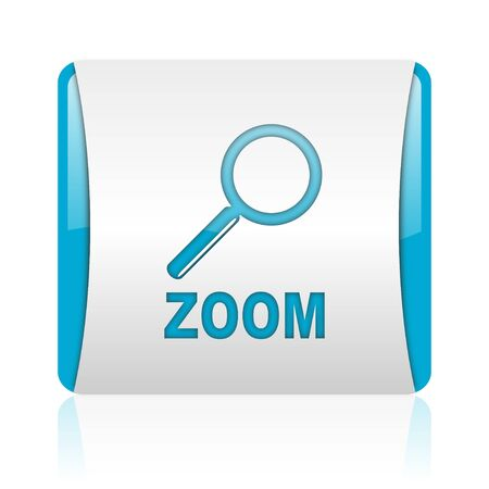zoom blue and white square web glossy icon Stock Photo - 18445393