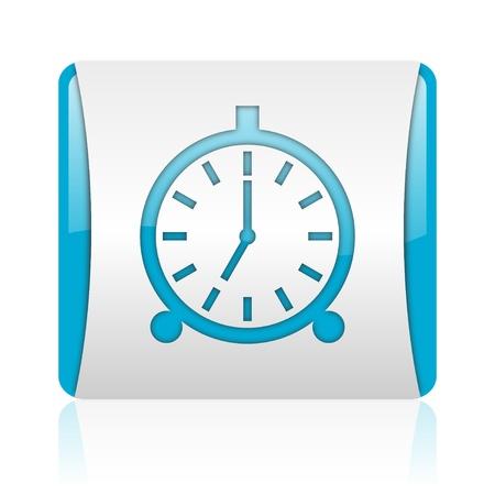 alarm clock blue and white square web glossy icon  photo
