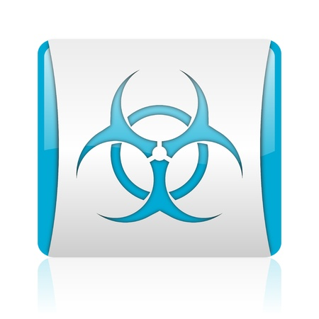 virus blue and white square web glossy icon  photo