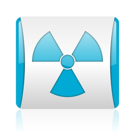 radiation blue and white square web glossy icon
