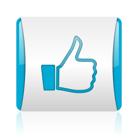 thumb up blue and white square web glossy icon Stock Photo - 18444748