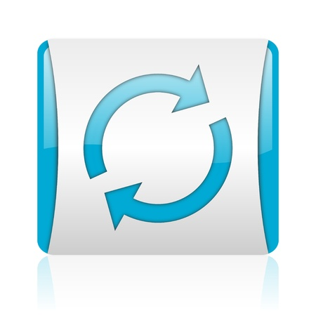 reload: reload blue and white square web glossy icon
