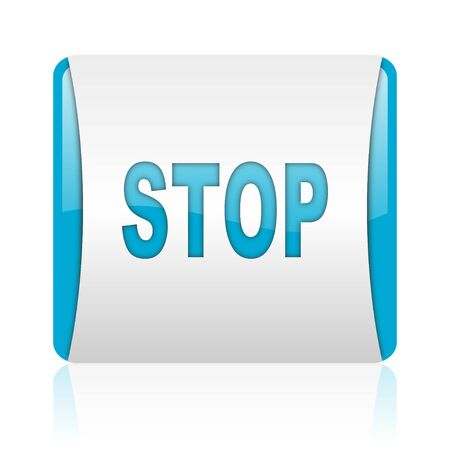 stop blue and white square web glossy icon Stock Photo - 18445266