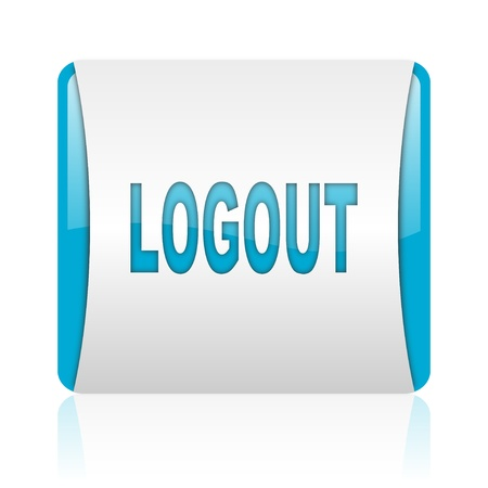 logout blue and white square web glossy icon  photo