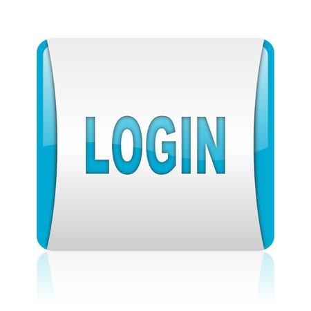 login blue and white square web glossy icon  photo