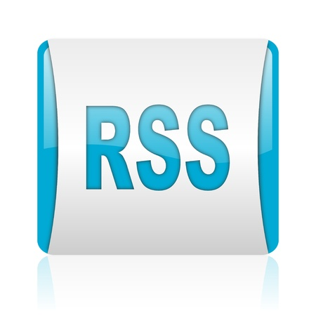 rss blue and white square web glossy icon Stock Photo - 18445419
