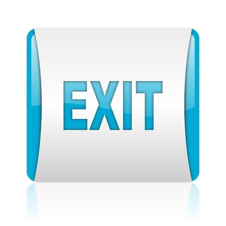 exit blue and white square web glossy icon  photo