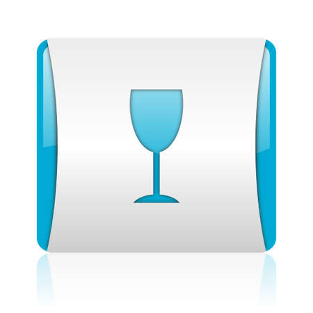 glass blue and white square web glossy icon Stock Photo - 18444119
