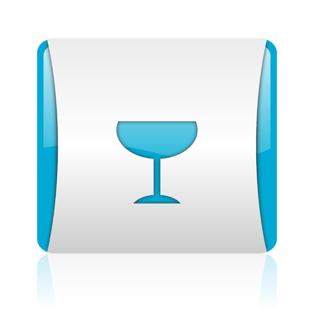 glass blue and white square web glossy icon Stock Photo - 18444115