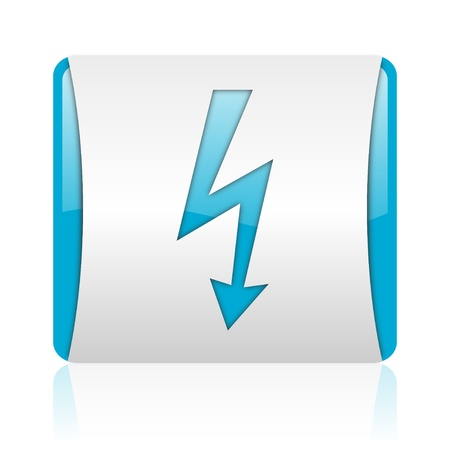 lightning blue and white square web glossy icon Stock Photo - 18444402