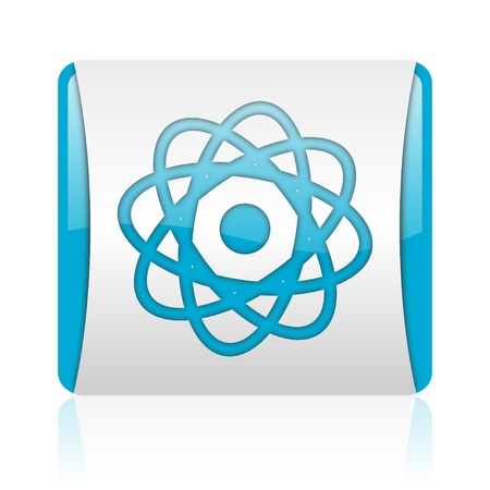 atom blue and white square web glossy icon Stock Photo - 18445730