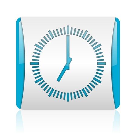 clock blue and white square web glossy icon  photo