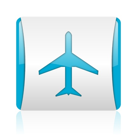 airplane blue and white square web glossy icon  photo
