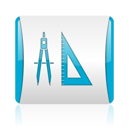 e-learning blue and white square web glossy icon  photo
