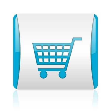shopping cart blue and white square web glossy icon