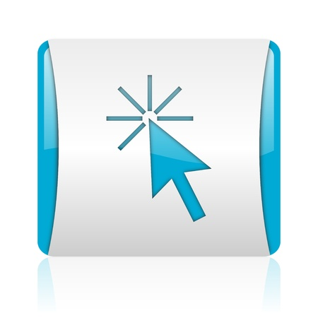 click here blue and white square web glossy icon Stock Photo - 18444459