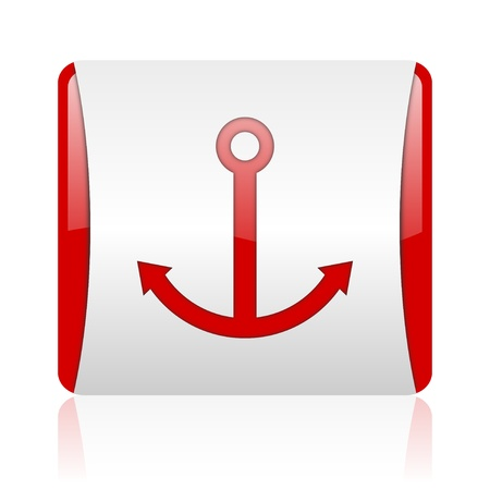 anchor red and white square web glossy icon  photo