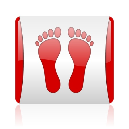 footprint red and white square web glossy icon Stock Photo - 18445412