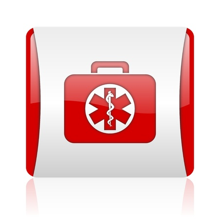 rescue kit red and white square web glossy icon  photo