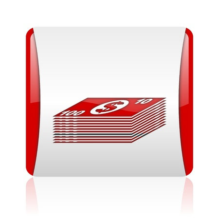 money red and white square web glossy icon  photo