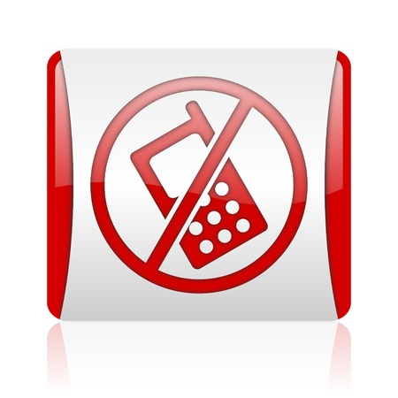 no phones red and white square web glossy icon Stock Photo - 18476000