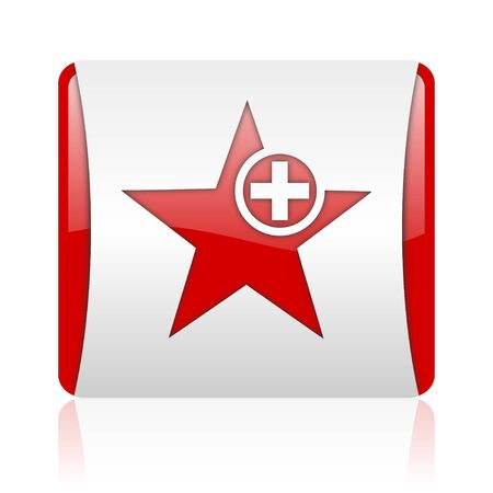 star red and white square web glossy icon Stock Photo - 18475636