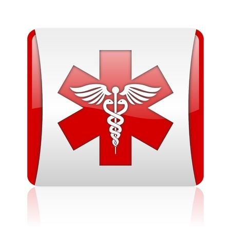 caduceus red and white square web glossy icon  photo