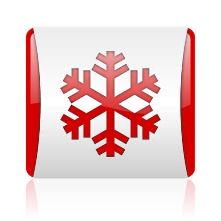 snowflake red and white square web glossy icon Stock Photo - 18475978