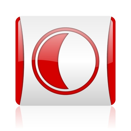 moon red and white square web glossy icon
