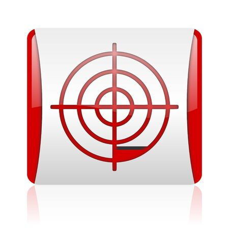 target red and white square web glossy icon Stock Photo - 18475992