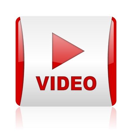 białe i czerwone video web ikonę błyszczący kwadratowych