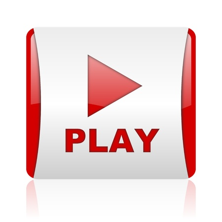 play red and white square web glossy icon  photo