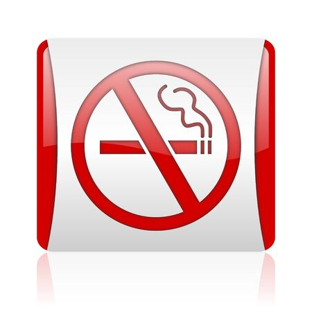 no smoking red and white square web glossy icon  photo