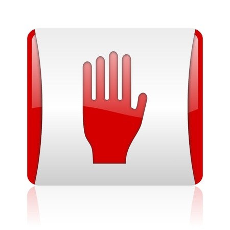 stop red and white square web glossy icon Stock Photo - 18475285