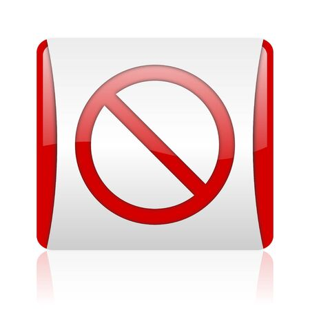 access denied red and white square web glossy icon Stock Photo - 18475896