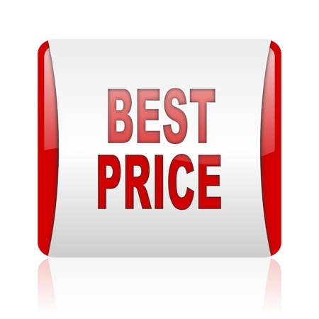 best price red and white square web glossy icon