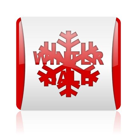 winter sale red and white square web glossy icon  photo