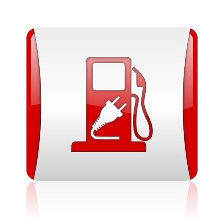 fuel red and white square web glossy icon Stock Photo - 18475693