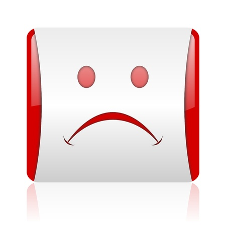 cry red and white square web glossy icon Stock Photo - 18475148