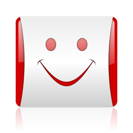smile red and white square web glossy icon Stock Photo - 18475172