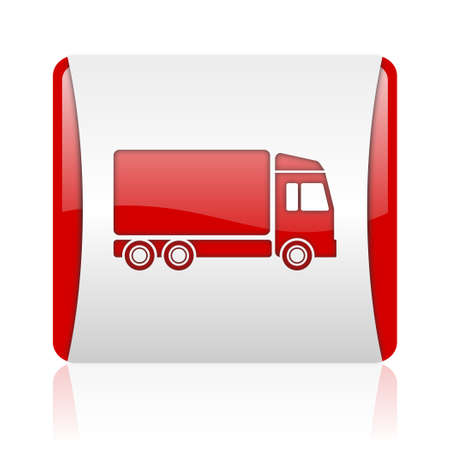 delivery red and white square web glossy icon  photo